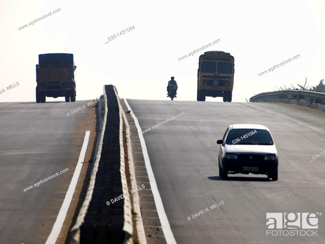 Stock Photo: Newly built roads, part of the national higway system, in rural Taml Nadu, India.