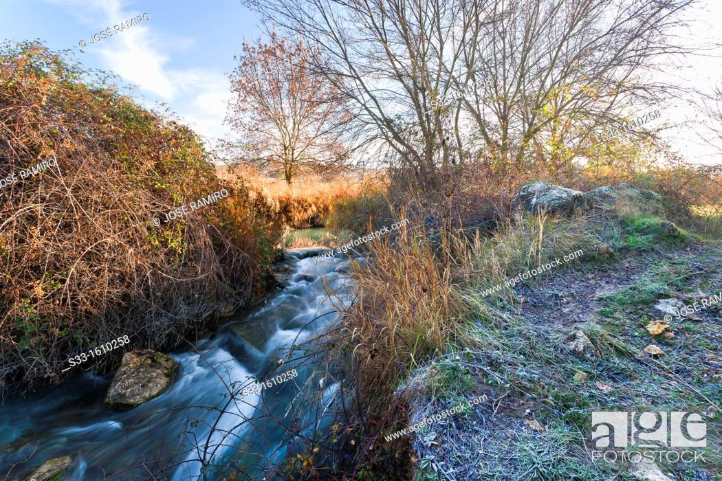 Stock Photo: Cigüela river in Saelices  Cuenca  Castilla la Mancha  Spain.