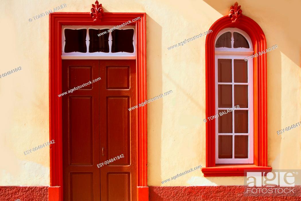 Stock Photo: Santa Cruz de La Palma colonial street house facades in canary Islands.