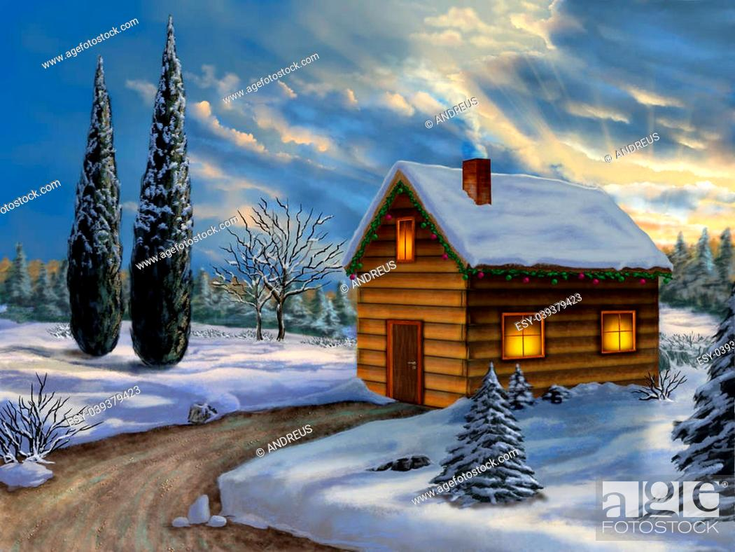 Stock Photo: Wooden cabin in a snowy christmas landscape. Digital illustration.