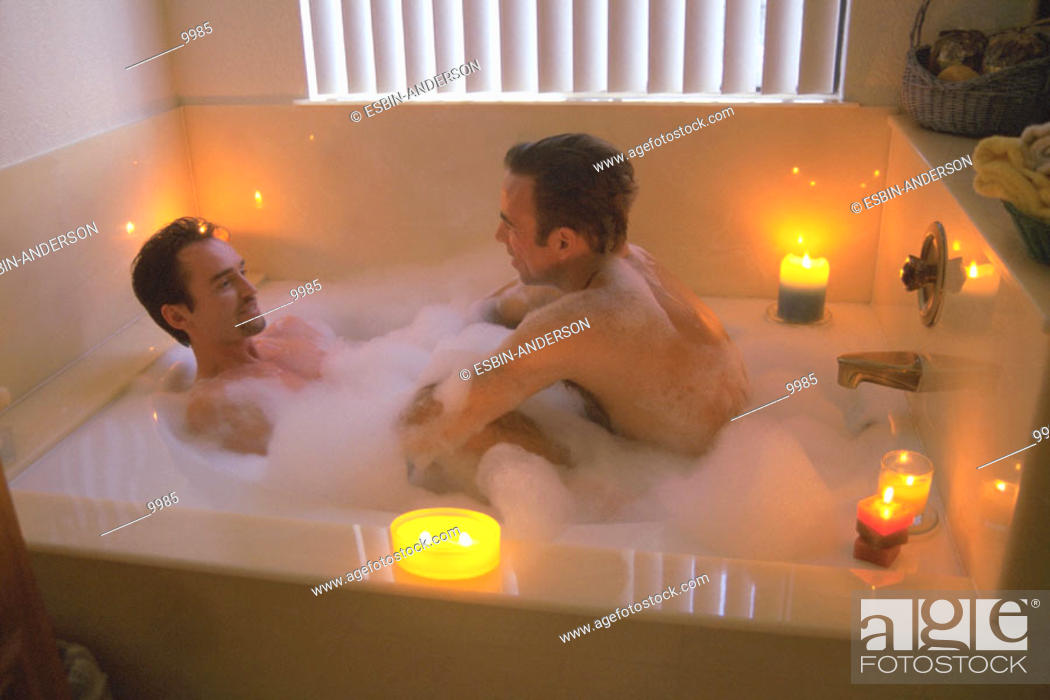 Stock Photo Gay Men Enjoy Bubble Bath Together