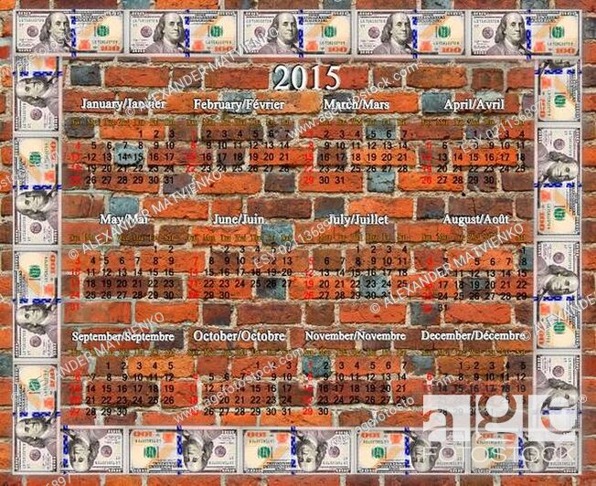 Stock Photo: Frame from the dollars on the brick wall background.