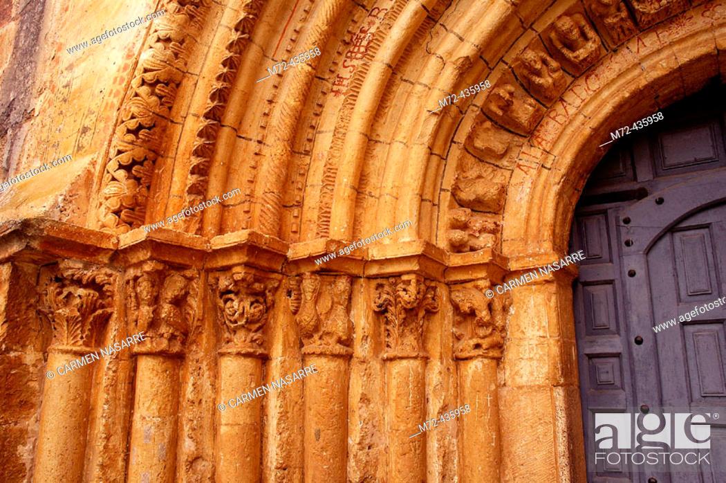 Stock Photo: Romanesque gate. Escalada church. Burgos. Spain.