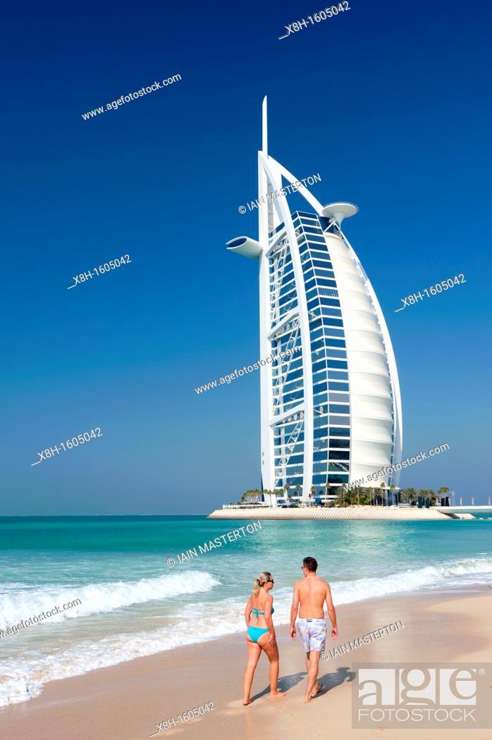 Stock Photo: View of Burj al Arab hotel in Dubai in United Arab Emirates.