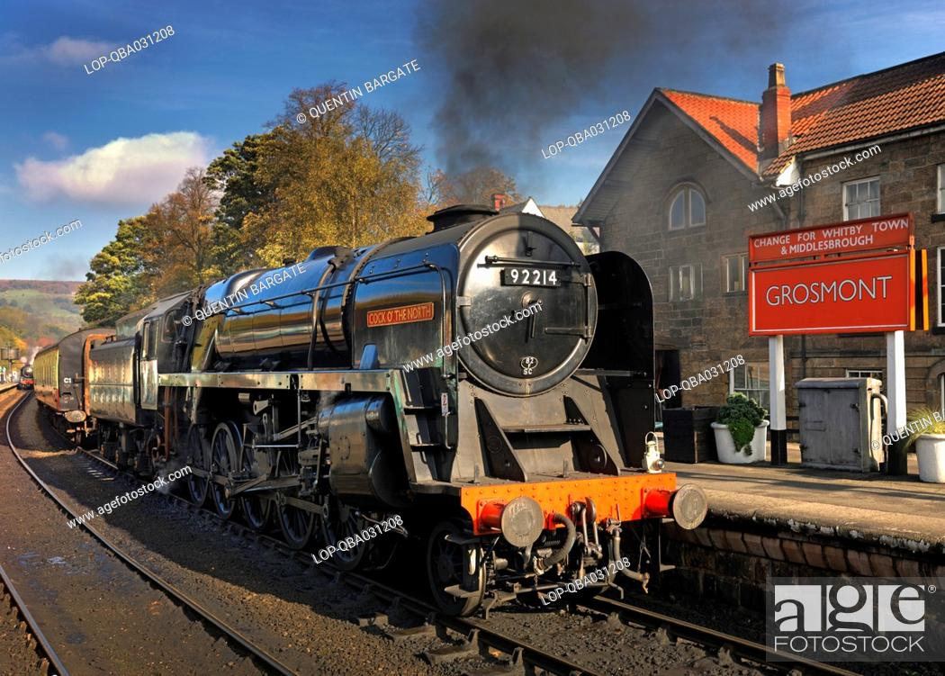 Stock Photo: England, North Yorkshire, Grosmont. Cock O' the North steam locomotive alongside a platform at Grosmont station on the North Yorkshire Moors Railway.