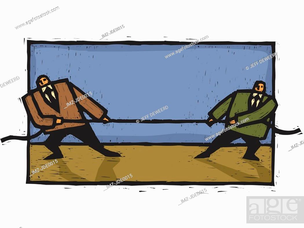 Stock Photo: Two businessmen engaging in a tug of war.