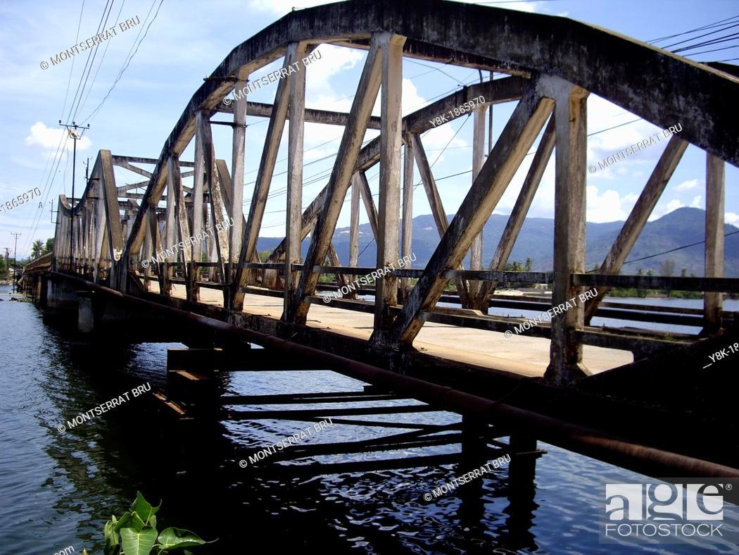 Stock Photo: Old bridge of Kampot, Cambodia, panoramic view.