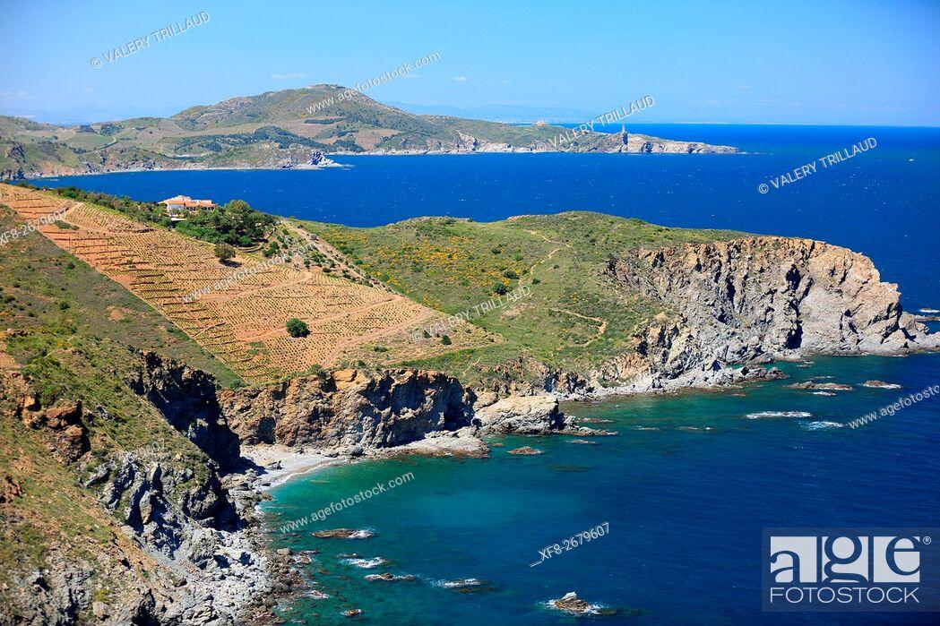 Stock Photo: Coastal landscape of the Cote Vermeille, Pyrenees orientales, Languedoc Roussillon, France.