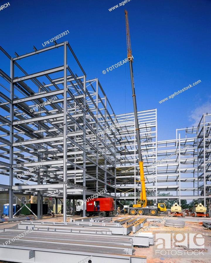 Stock Photo: Steelframe erection with mobile telescopic extended crane.