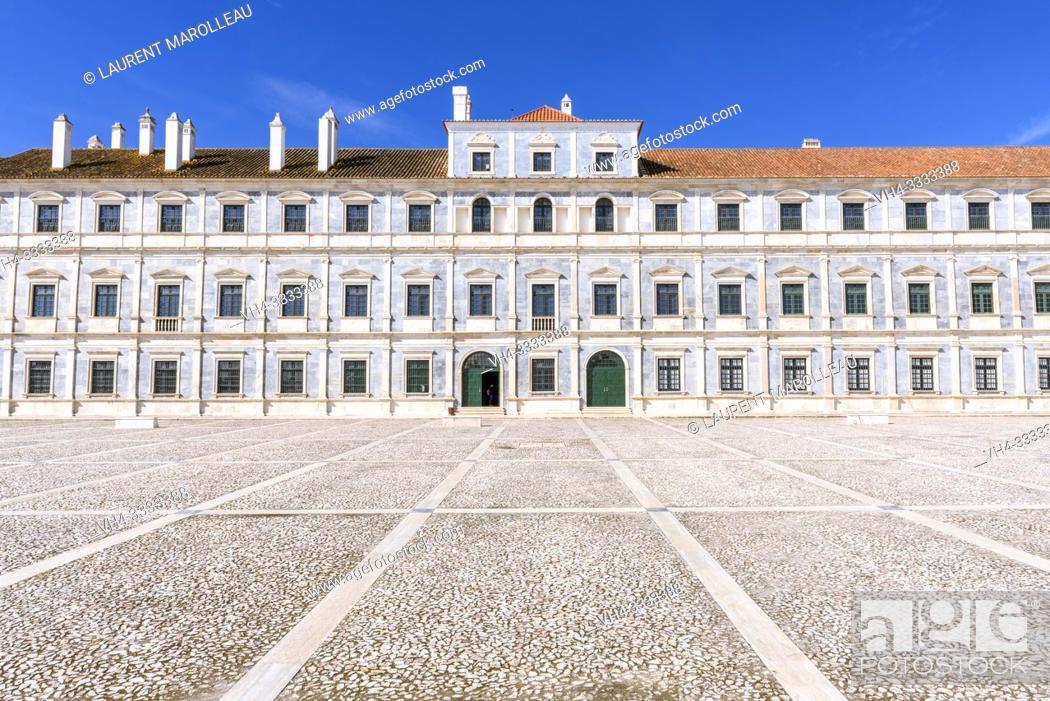 Stock Photo: Imposing facade of Marble of the Ducal Palace of Vila Viçosa, Nossa Senhora da Conceicao, Vila Vicosa Municipality, Evora District, Alentejo Region, Portugal.