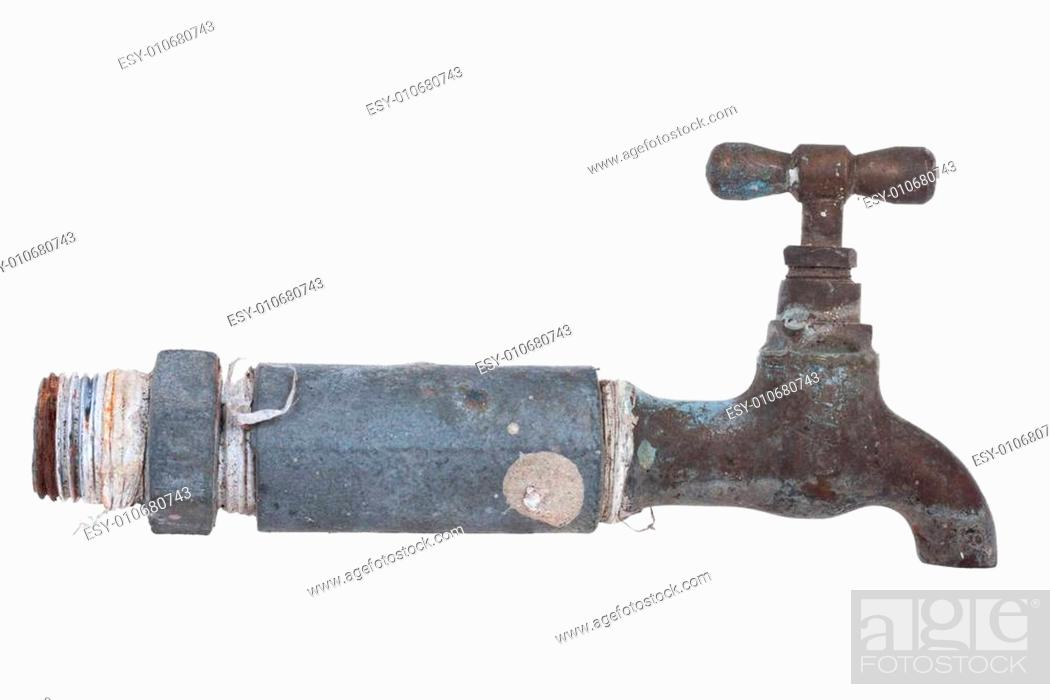Stock Photo: Old Water Faucet, isolate on white background.