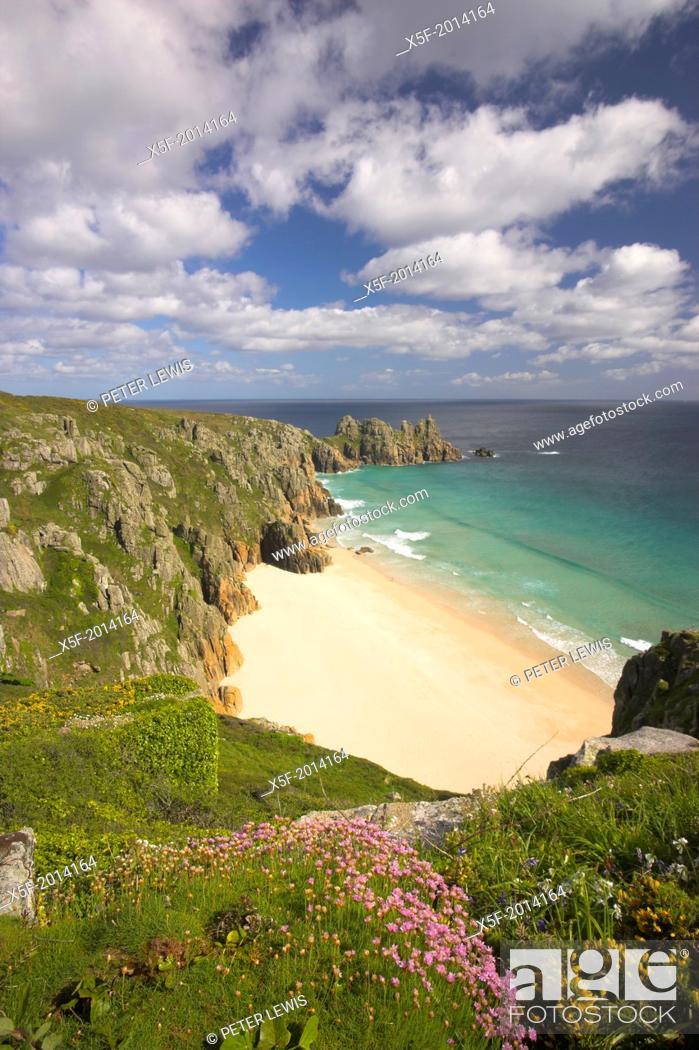 Stock Photo: View toward Pendnvounder Beach Treen Cornwall.