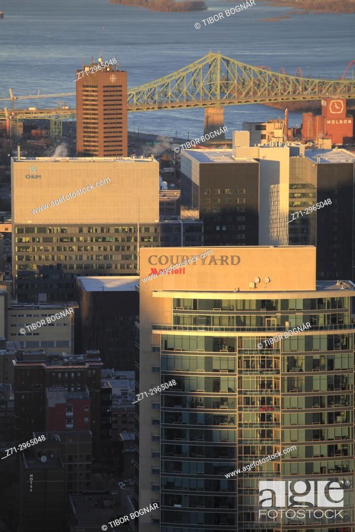 Imagen: Canada, Quebec, Montreal, skyline, St Lawrence River, Jacques Cartier Bridge, .