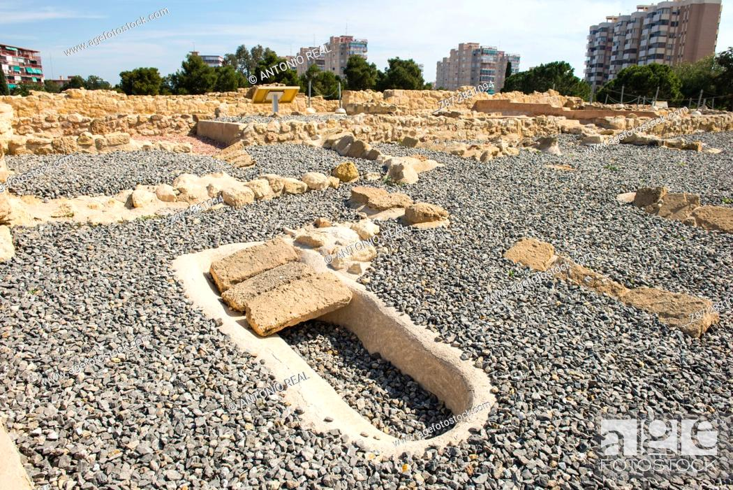 Stock Photo: Lucentum archaeological site, Iberian-Roman city, Alicante province, Spain.
