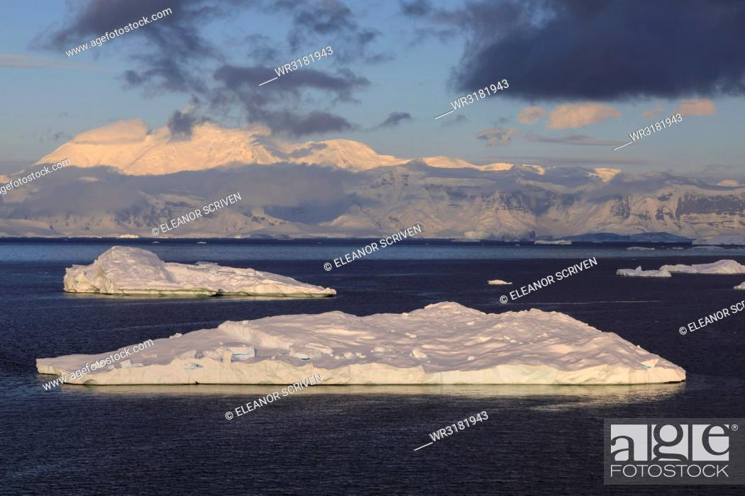 Stock Photo: Early morning atmospheric cloud and mist, mountains, glaciers and icebergs, Neko Harbour, Andvord Bay, Graham Land, Antarctica, Polar Regions.