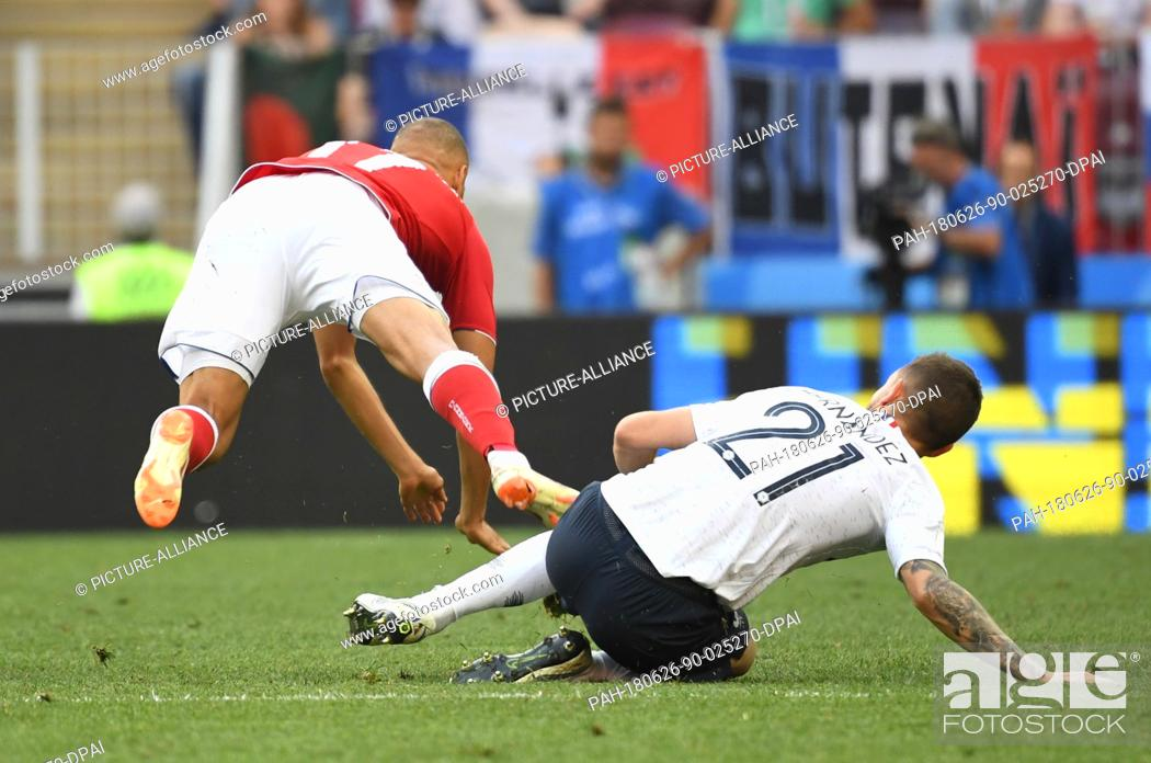 Stock Photo: 26 June 2018, Russia, Moscow: Soccer, World Cup 2018, Preliminary round, Group C, 3rd game day, Denmark vs. France at the Luschniki Stadium: .