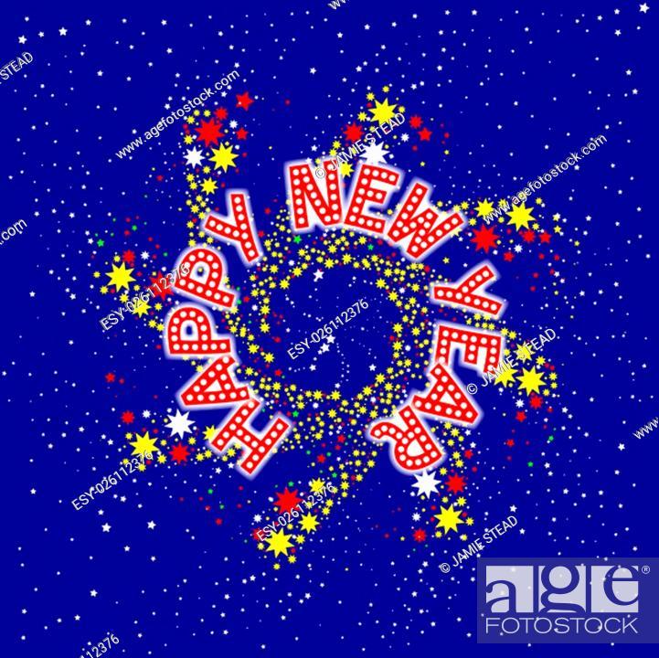 Stock Photo: A spinning pin wheel or catherine wheel with a new year message.