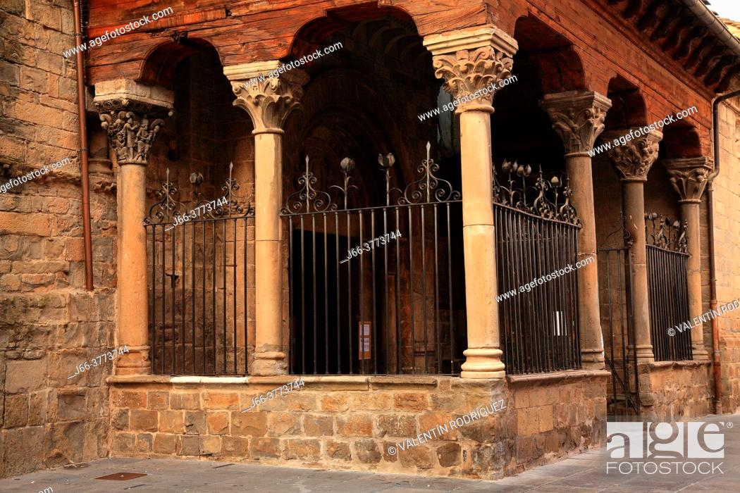 Stock Photo: Capitals in the south door of the Cathedral in Jaca. Huesca.