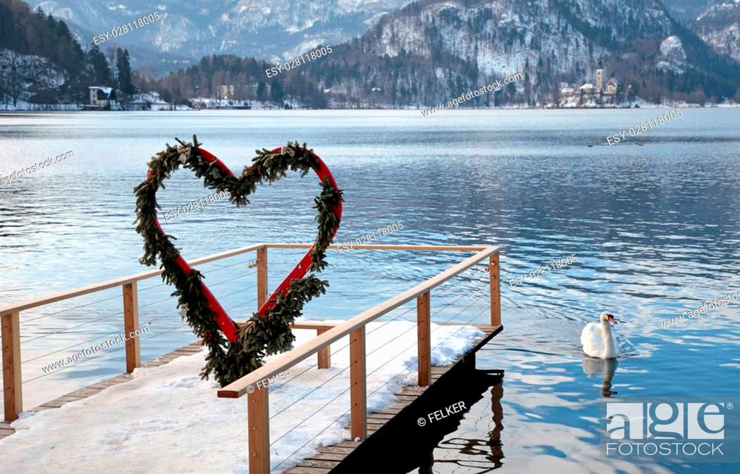 Beautiful Winter Landscape With Pier And Heart Arch Lake
