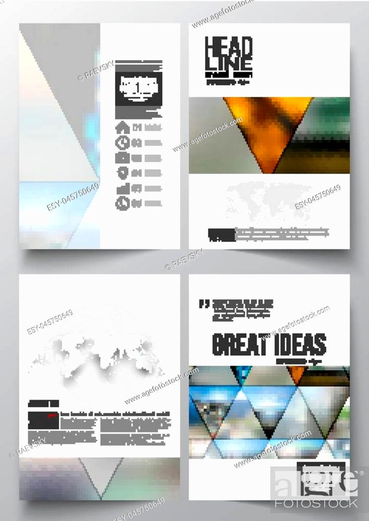 Stock Vector: Set of business templates for brochure, magazine, flyer, booklet or annual report. Abstract colorful polygonal background, natural landscapes, geometric.