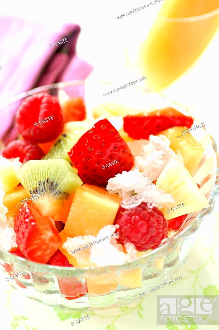 Stock Photo: fruit salad with lychee granita.