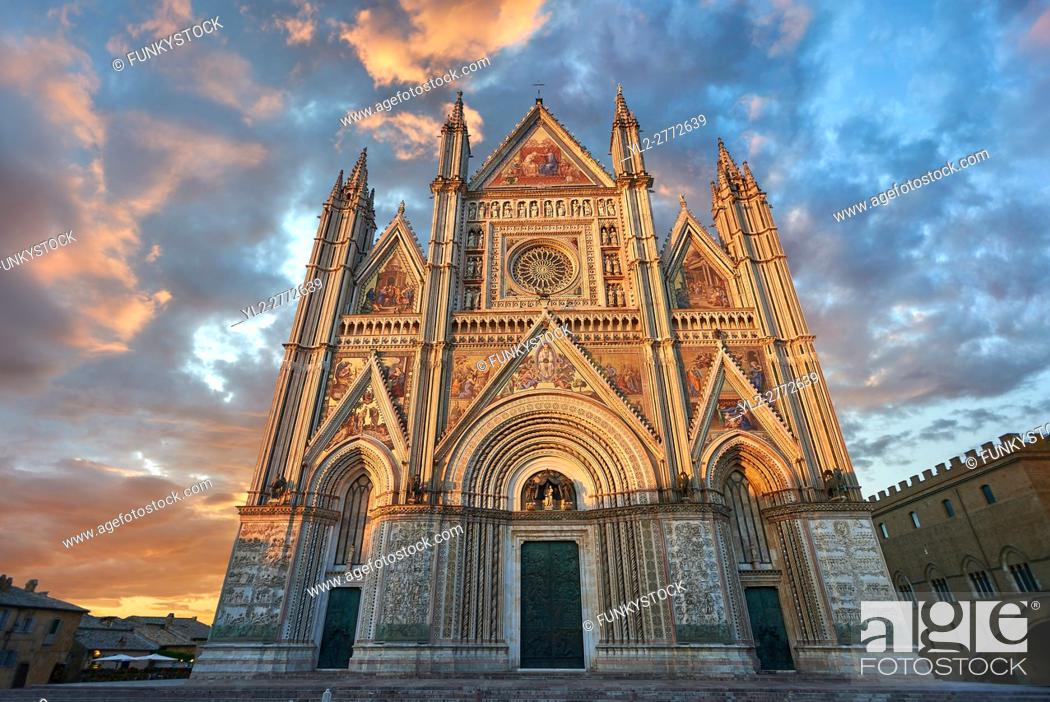 Stock Photo: Sunset picture of the 14th century Tuscan Gothic style facade of the Cathedral of Orvieto, designed by Maitani, Umbria, Italy.