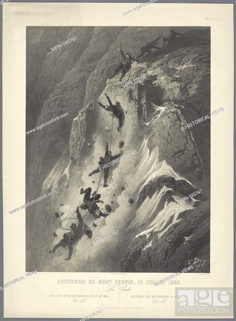 Stock Photo: Ascension du Mont Cervin - 14 Juillet 1865 Additional title: La Chute. Doré, Gustave, 1832-1883 (Artist) Ciceri, Eugène, 1813-1890 (Printmaker) Imprimerie.