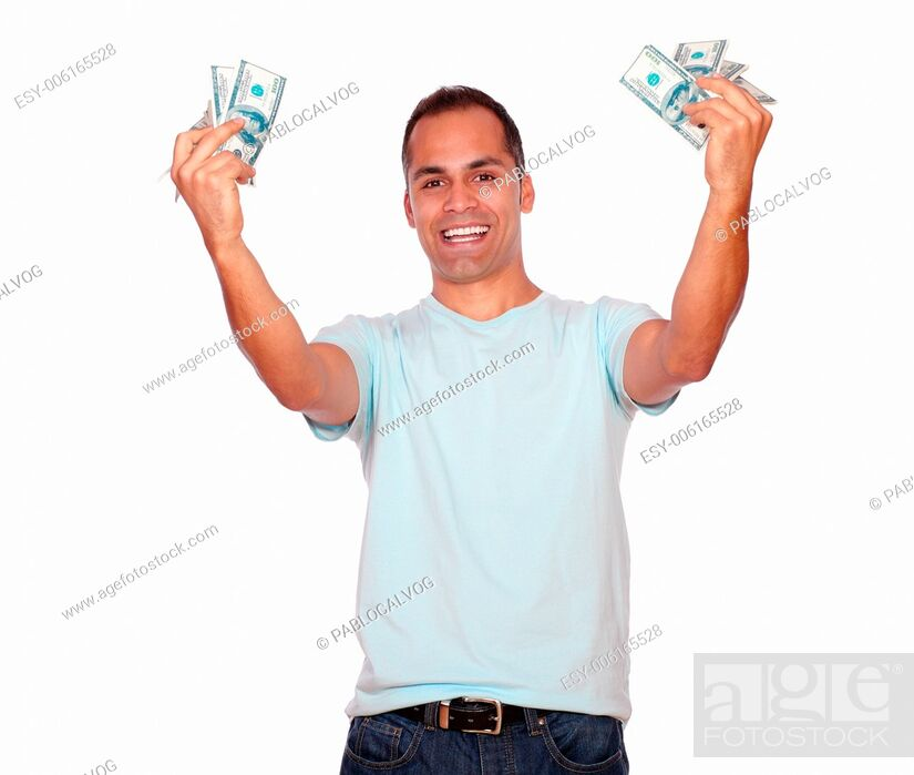 Stock Photo: Portrait of an excited adult man with cash money against white background.