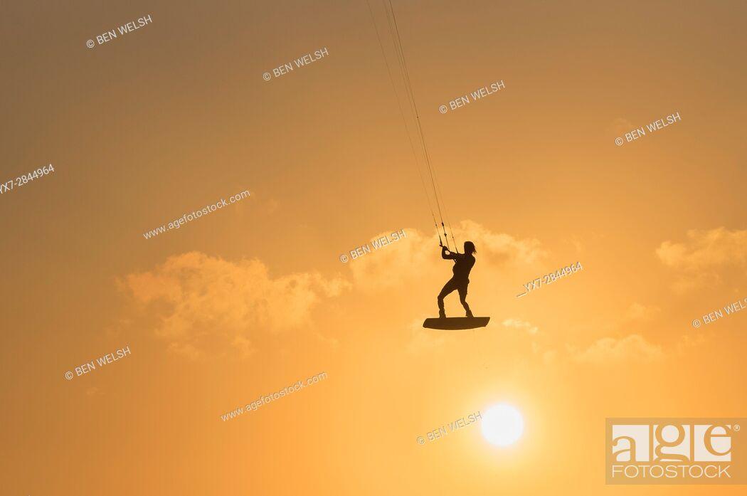 Stock Photo: Kitesurfing action. Tarifa, Costa de la Luz, Cadiz, Andalusia, Spain.