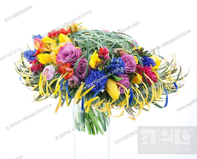 Stock Photo: Colorful branch of flowers isolated on white background.