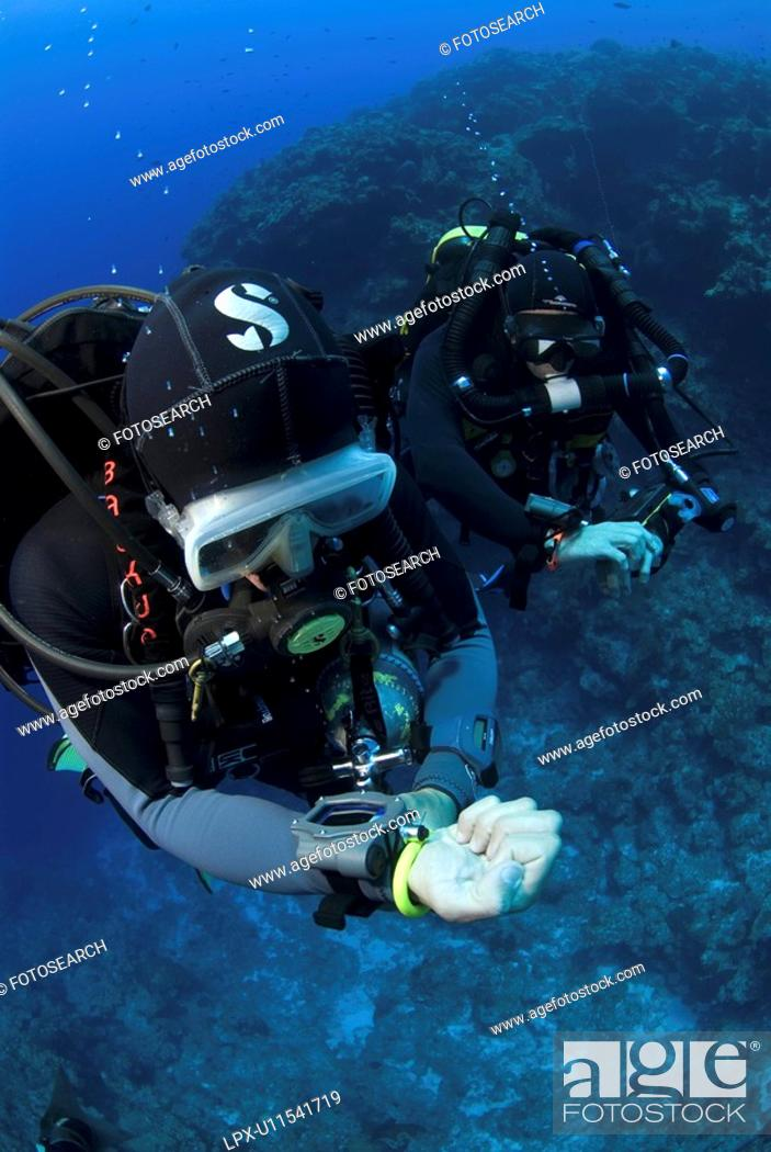 Stock Photo: Technical Divers using Trimix, Rebreathers and technical diving equipment, Divetech, Grand Cayman, Cayman Islands, Caribbean.