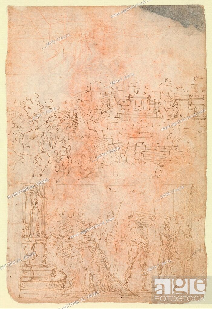Photo de stock: Page from a Sketchbook Depicting a City under Siege and a Scene of Homage(?) (recto); standing figures and a horseman; male and female figures; a battle scene.
