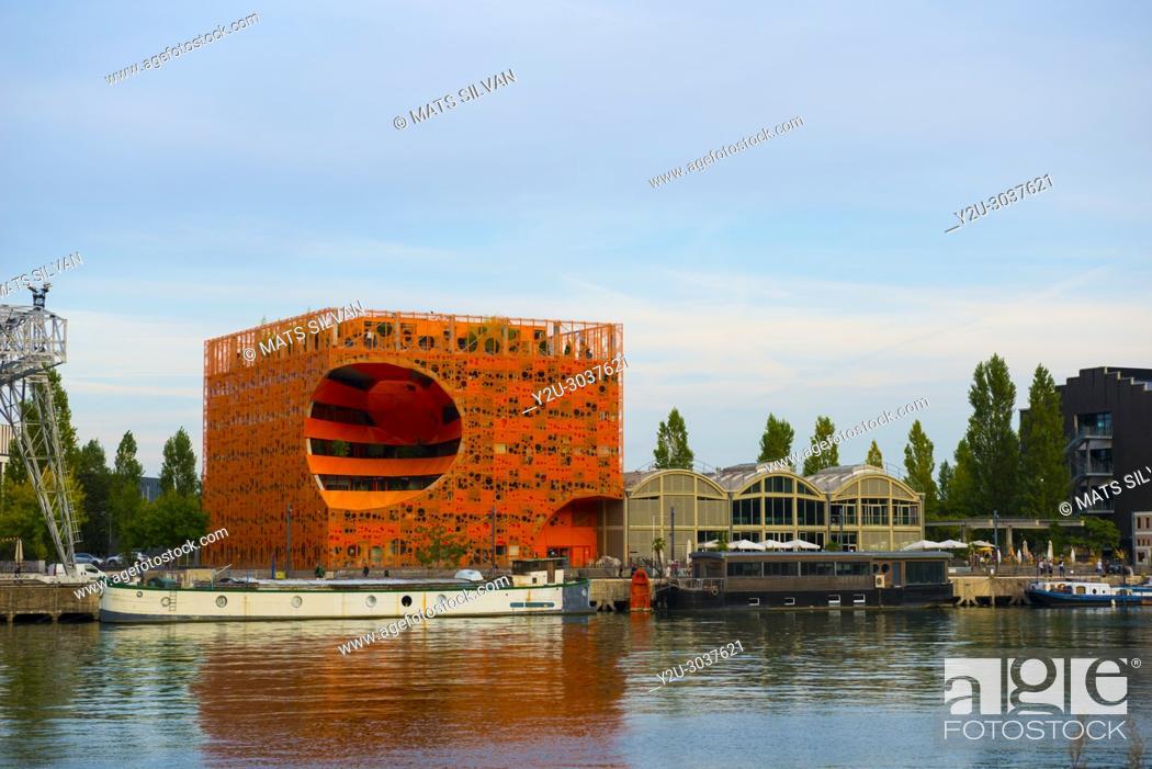 Stock Photo: Pavillon des Salins, Orange Cube, La Confluence District, in Lyon in Auvergne-Rhone-alpes, France.