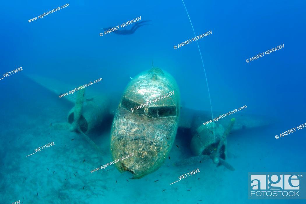 Stock Photo: Freediver and wreckplan Douglas DC-3 Dakota, Mediterranean Sea, Kash, Turkey.