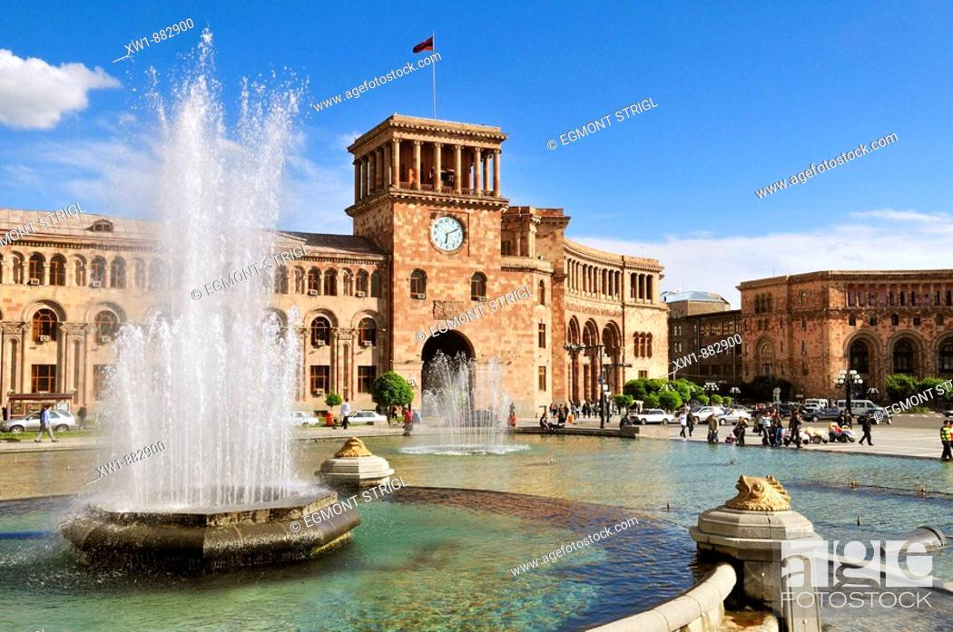Stock Photo: water fountain, Republic Square at downtown Yerevan, Jerewan, Armenia, Asia.