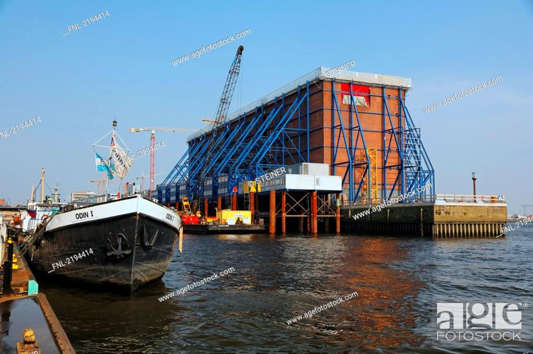 Stock Photo: Cranes at construction site, Elbe Philharmonic Hall, HafenCity, Elbe River, Speicherstadt, Hamburg, Germany.
