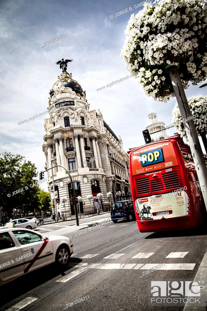 Stock Photo: Metropolis building on Gran Via, Madrid, Spain.
