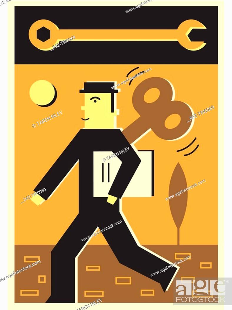 Stock Photo: Illustration of a wind up businessman.