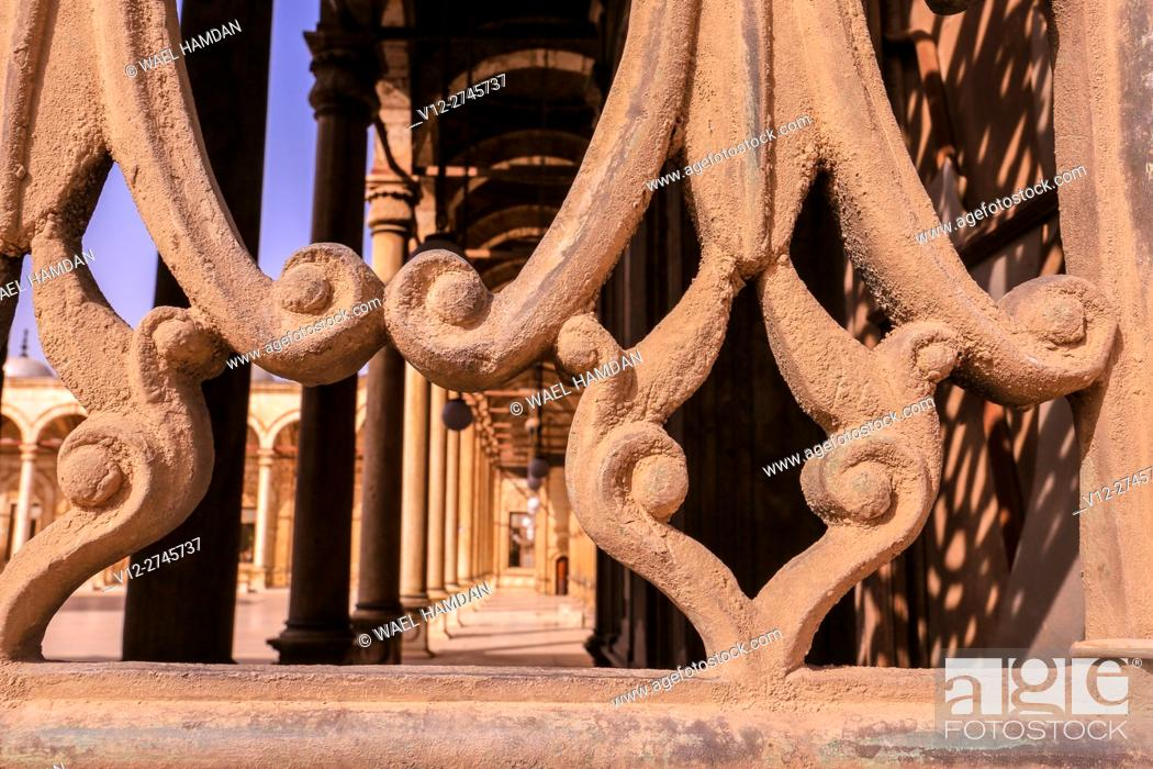 Stock Photo: view form a window at Mohamed Ali Mosque, at the Citadel in Cairo, Egypt.