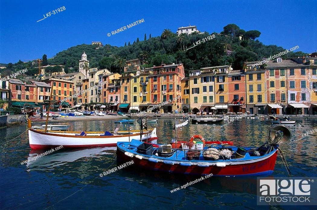 Stock Photo: Boats at harbour under blue sky, Portofino, Liguria, Italy, Europe.