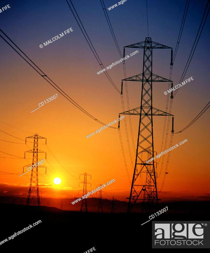 Stock Photo: Electricity pylons. Scotland.