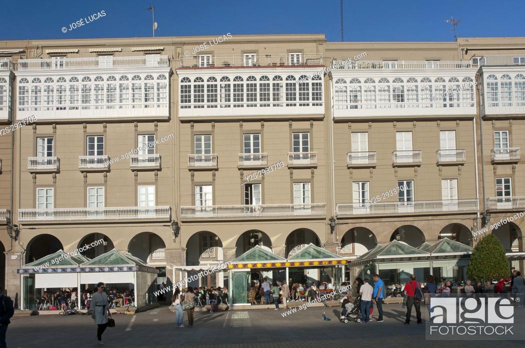Stock Photo: Maria Pita square, La Coruna, Region of Galicia, Spain, Europe.