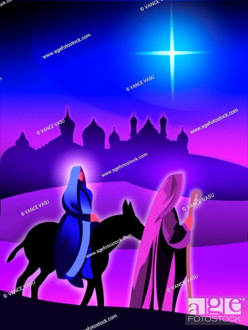 Stock Photo: Joseph and Mary traveling by donkey with the Star of Bethlehem and Jerusalem in the background.
