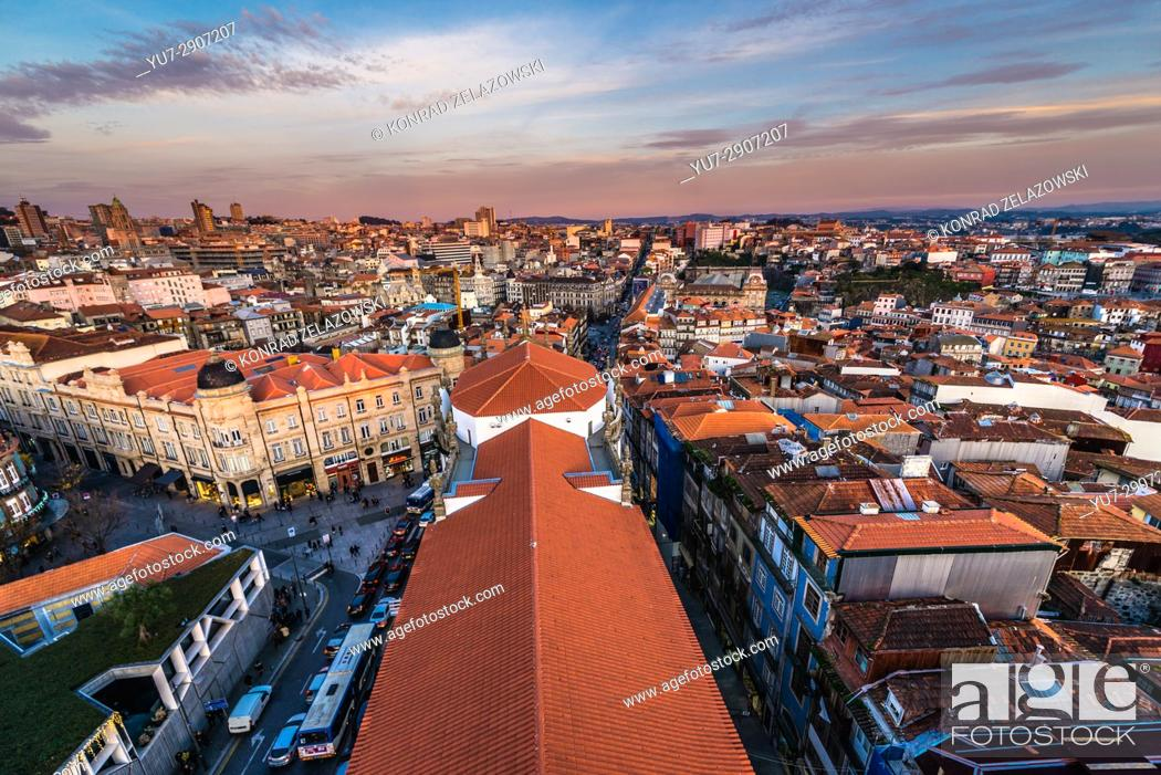 Stock Photo: Aerial view from bell tower of Clerigos Church (Clergy Church - on photo) in Porto, second largest city in Portugal.