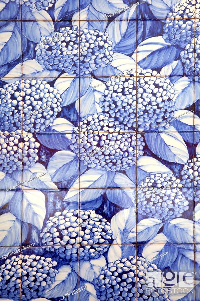 "Stock Photo: Mural of portuguese blue glazed tiles, """"azulejo"""", with hydrangeas flowers. Vila Franca do Campo, Azores islands, Portugal."