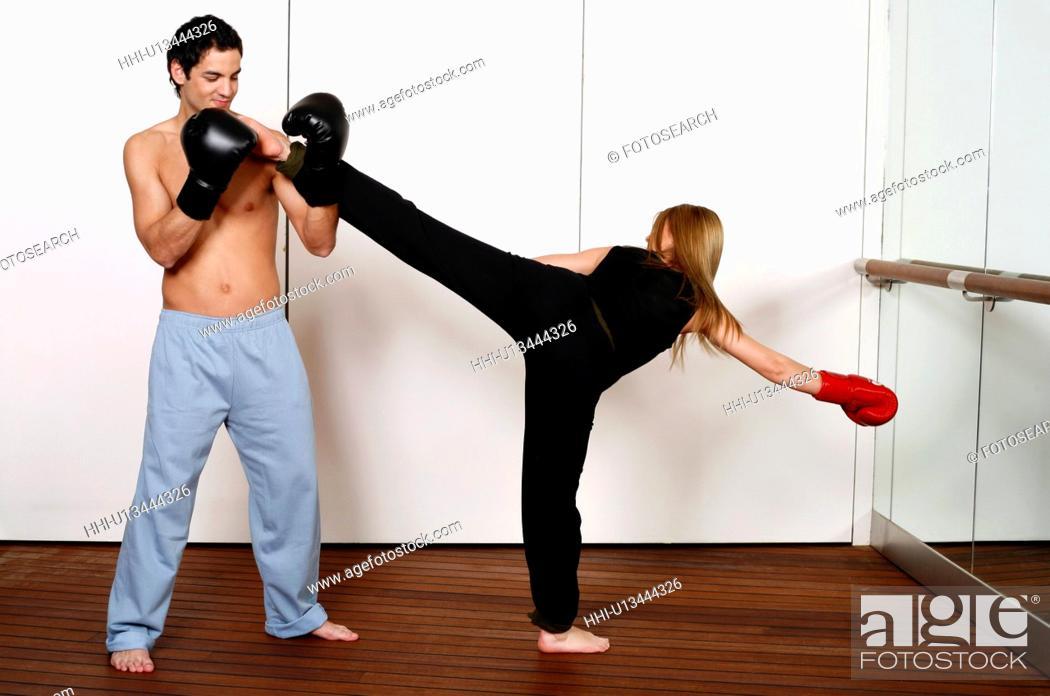 Stock Photo: Side kick of Active Tae Bo.