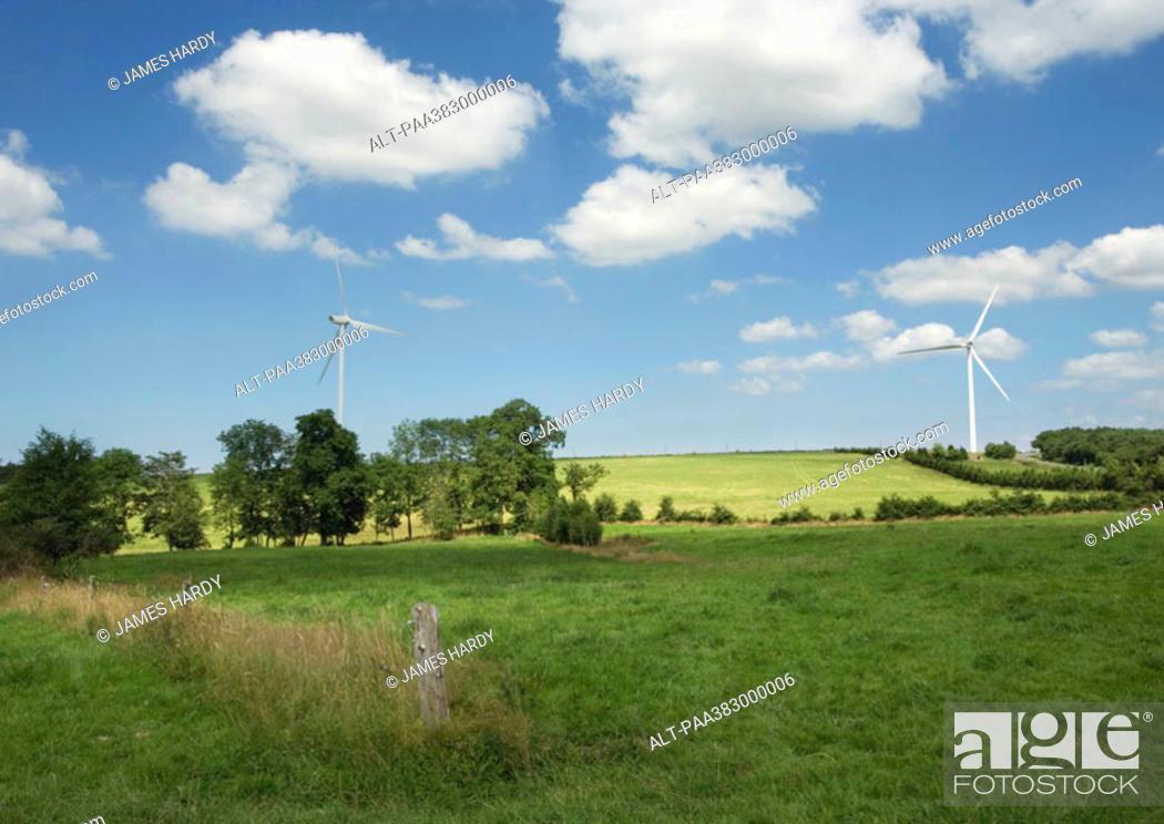 Stock Photo: Wind turbines, Normany, France.