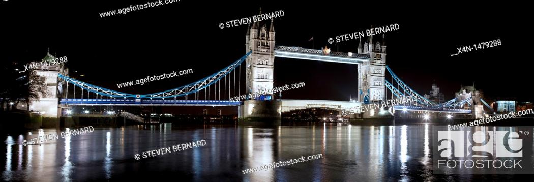 Stock Photo: Tower Bridge one of London's top tourist attractions viewed from north side of the River Thames.