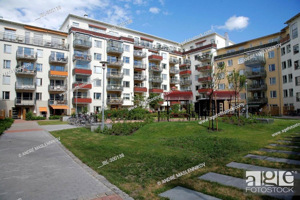 Stock Photo: Block of flats, Sweden.