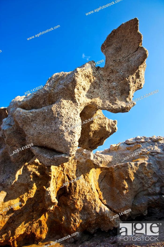 Stock Photo: This rock inspired Salvador Dali in his painting 'El gran masturbador', Cap de Creus Natural Park, Alt Emporda, Costa Brava, Girona province, Catalonia, Spain.